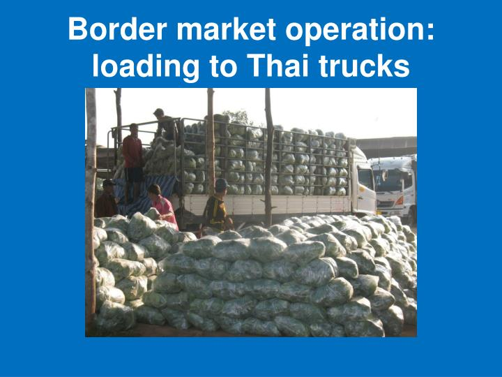 Border market operation: loading to Thai trucks