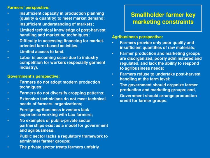Smallholder farmer key marketing constraints