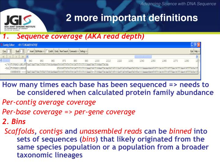Sequence coverage (AKA read depth)