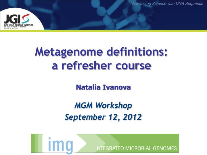 Metagenome definitions:
