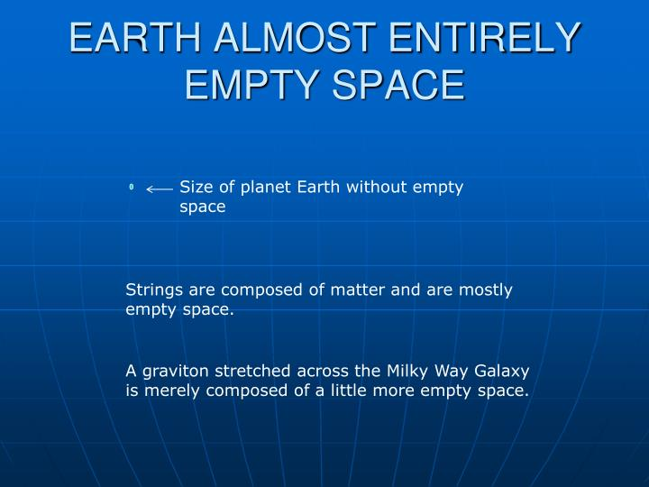 EARTH ALMOST ENTIRELY EMPTY SPACE