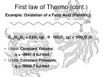 first law of thermo cont