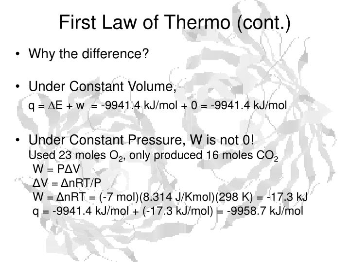 First Law of Thermo (cont.)