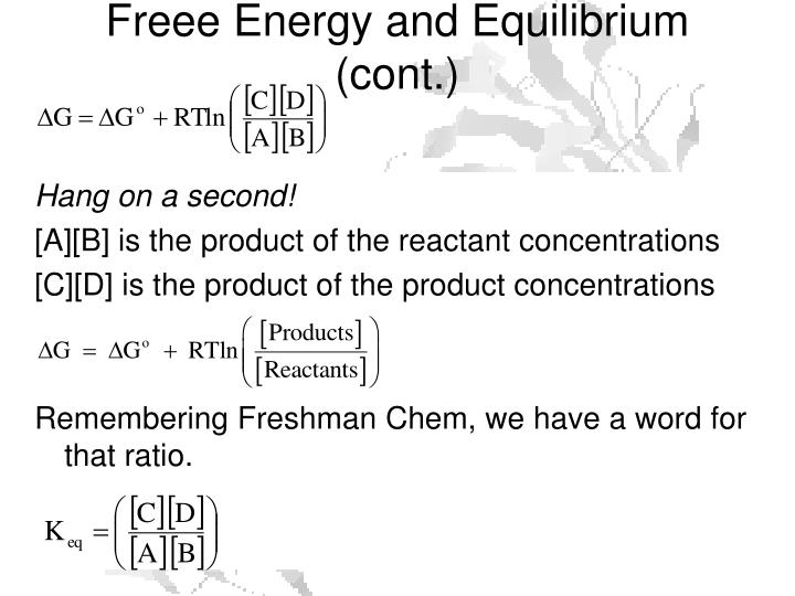 Freee Energy and Equilibrium (cont.)