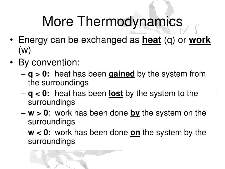 More Thermodynamics