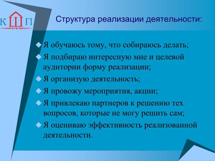 Структура реализации деятельности: