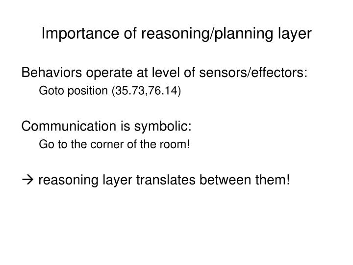Importance of reasoning/planning layer