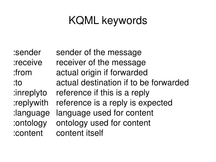 KQML keywords