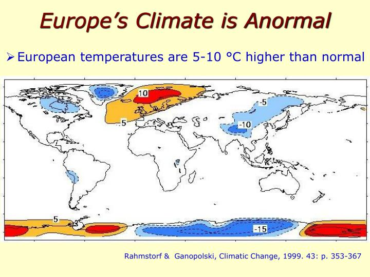 Europe's Climate is Anormal