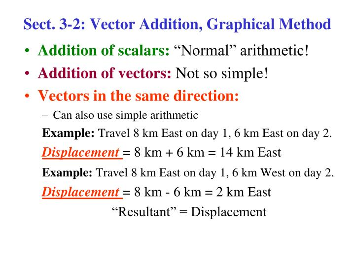 Sect. 3-2: Vector Addition, Graphical Method