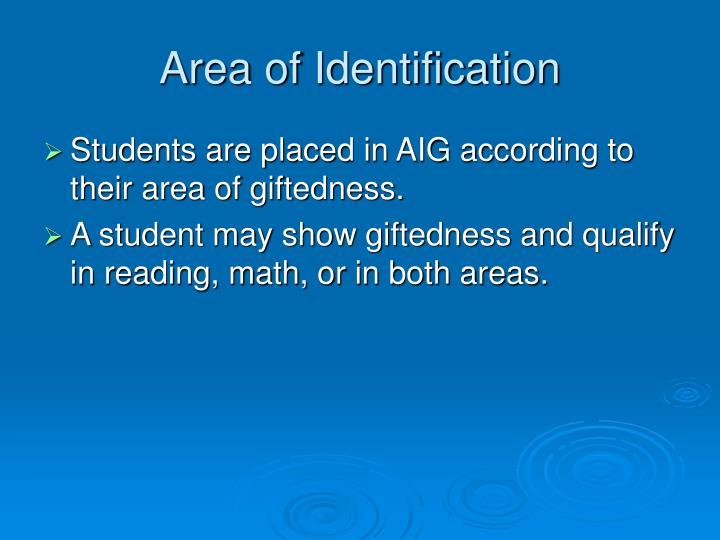 Area of Identification