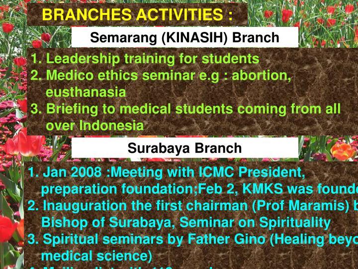 BRANCHES ACTIVITIES :