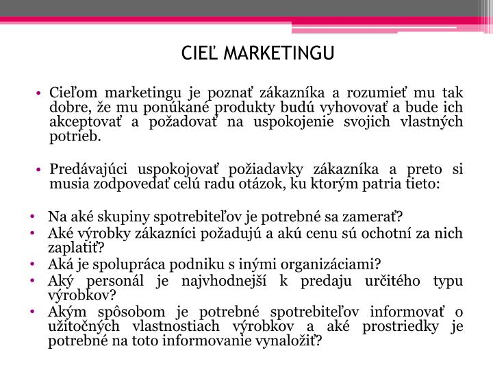 Cieľ marketingu
