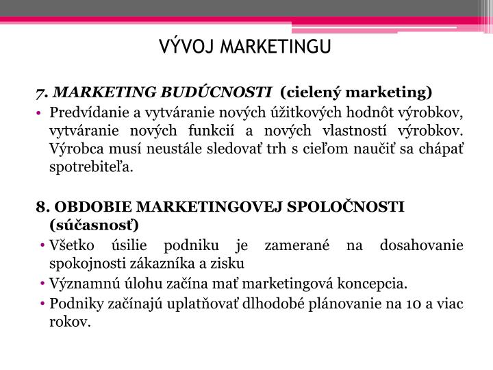 Vývoj marketingu