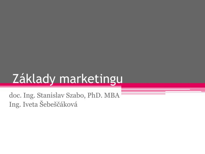 Z klady marketingu