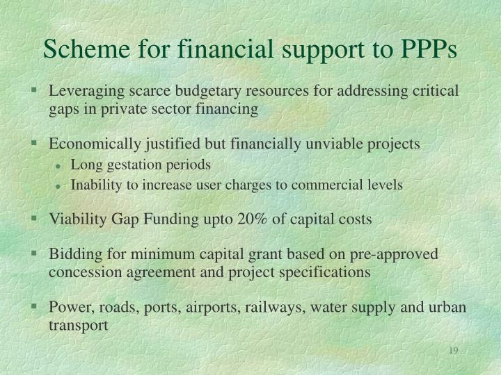 Scheme for financial support to PPPs
