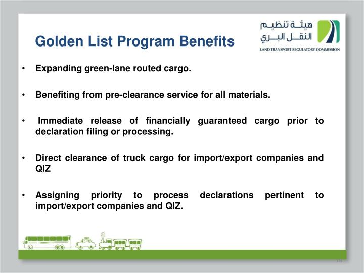 Golden List Program Benefits