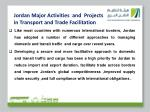jordan major activities and projects in transport and trade facilitation