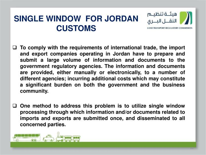 SINGLE WINDOW  FOR JORDAN CUSTOMS