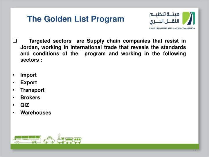 The Golden List Program