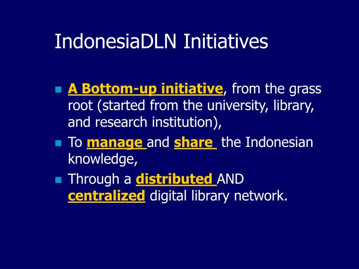 IndonesiaDLN Initiatives