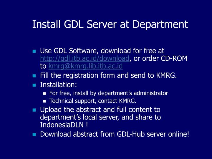 Install GDL Server at Department