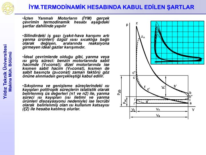 İçten Yanmalı Motorların (İYM) gerçek çevrimin termodinamik hesabı aşağıdaki şartlar dahilinde yapılır