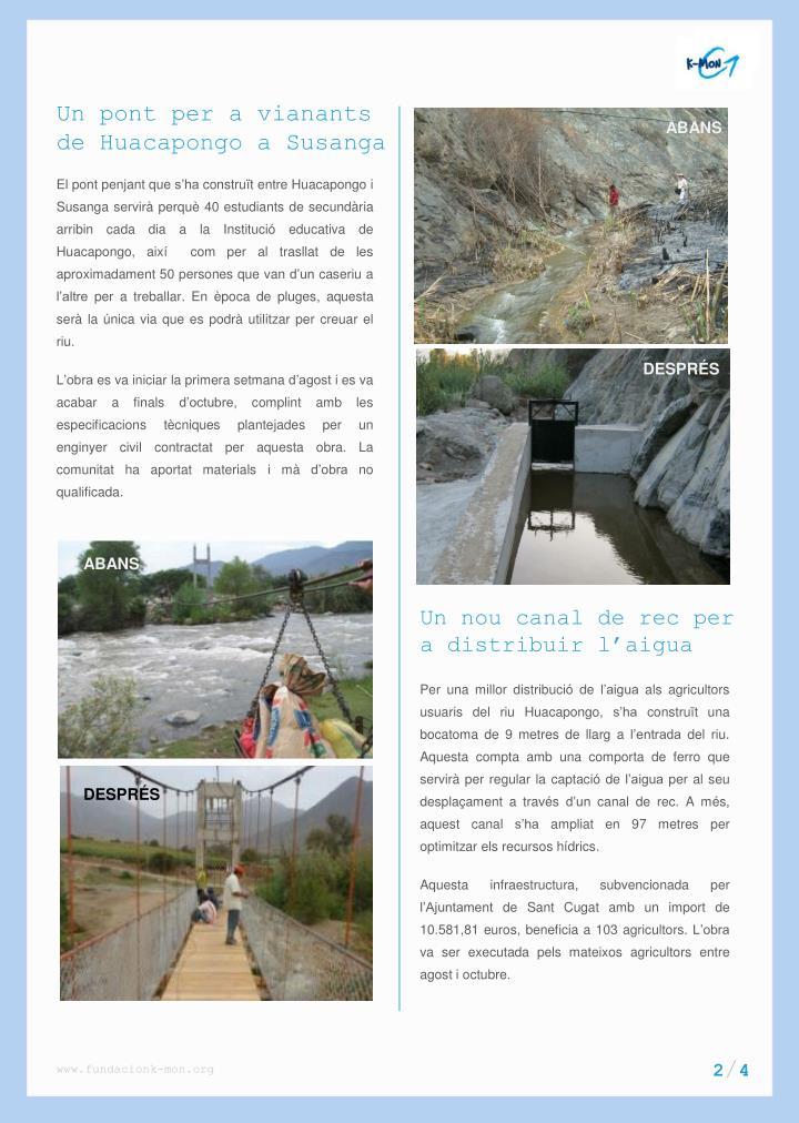 Un pont per a vianants de Huacapongo a Susanga