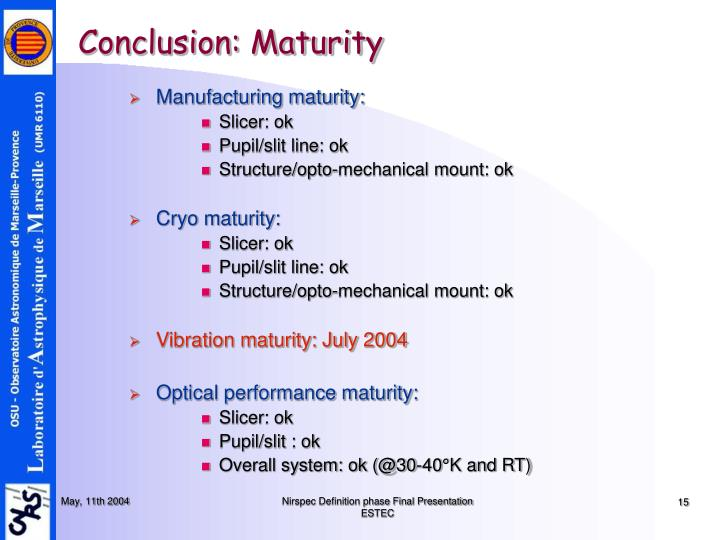 Conclusion: Maturity