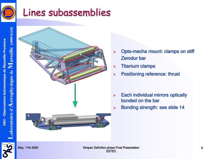 Lines subassemblies
