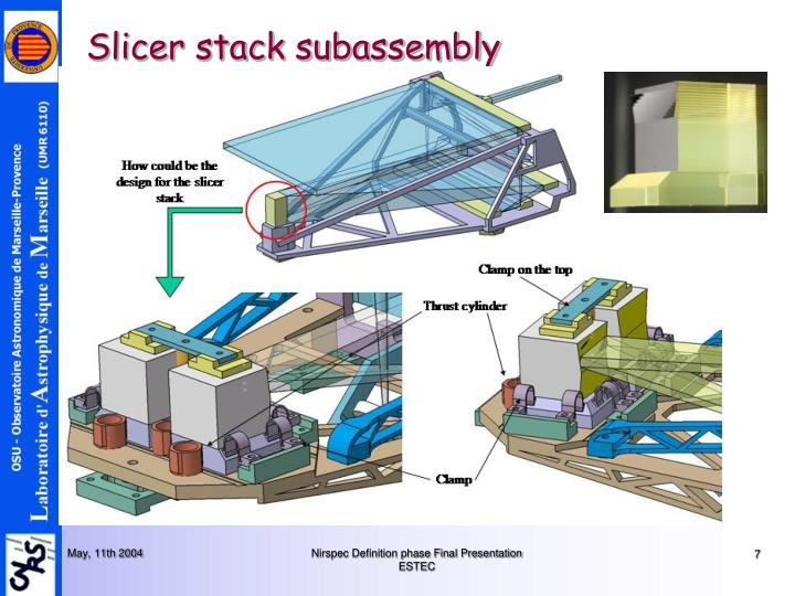Slicer stack subassembly