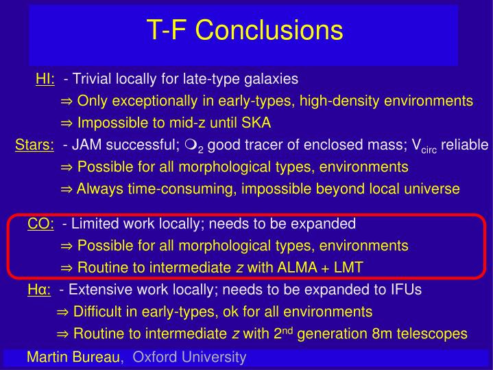 T-F Conclusions