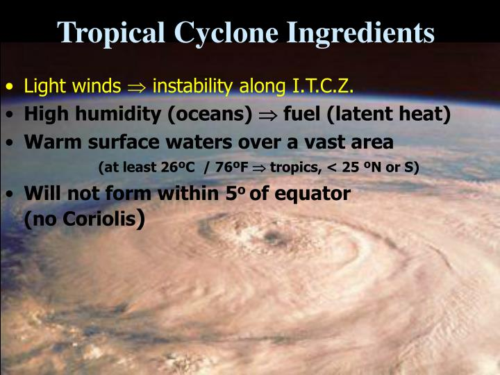Tropical cyclone ingredients