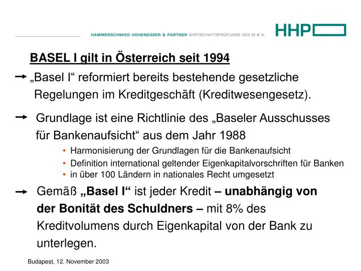 """""""Basel I"""" reformiert bereits bestehende gesetzliche Regelungen im Kreditgeschäft (Kreditwesengesetz)."""
