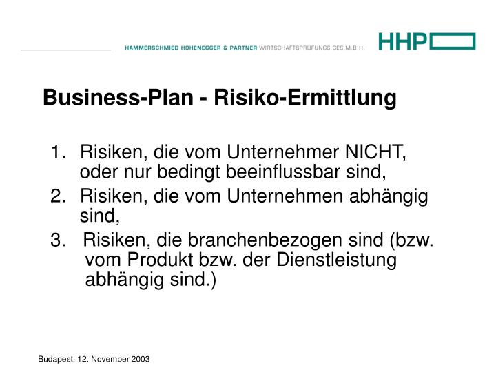 Business-Plan - Risiko-Ermittlung