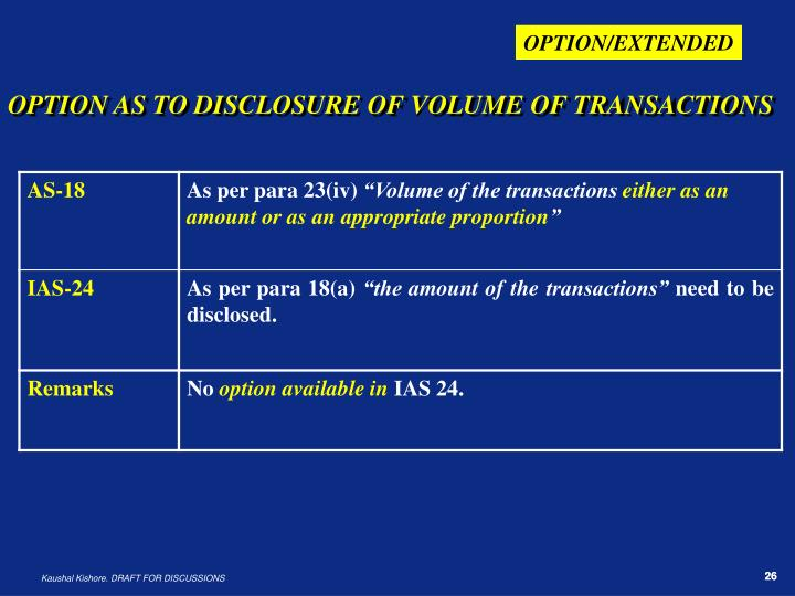 OPTION AS TO DISCLOSURE OF VOLUME OF TRANSACTIONS