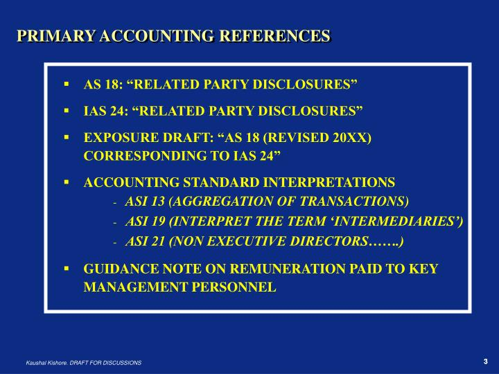 PRIMARY ACCOUNTING REFERENCES