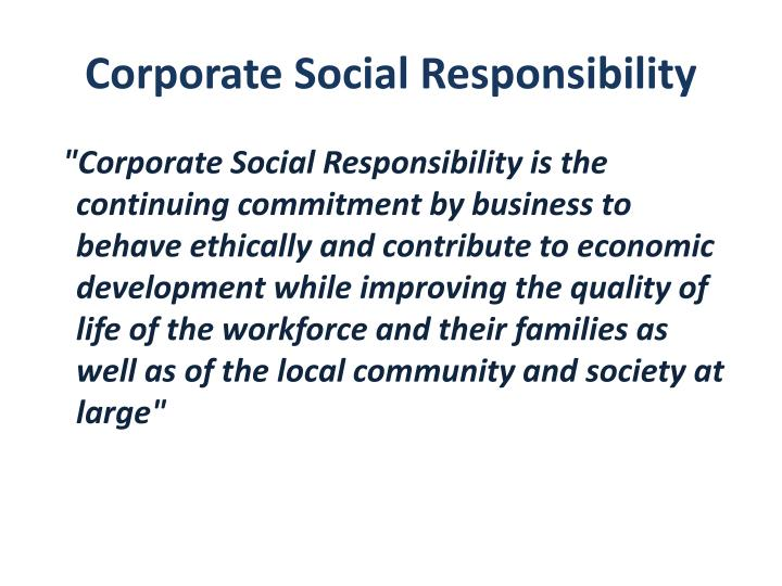 Corporate social responsibility1