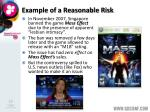 example of a reasonable risk