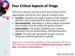 four critical aspects of triage