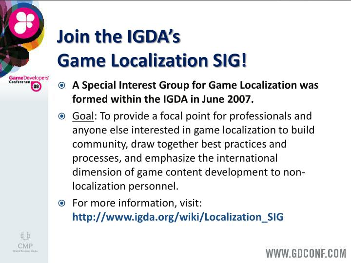 Join the IGDA's
