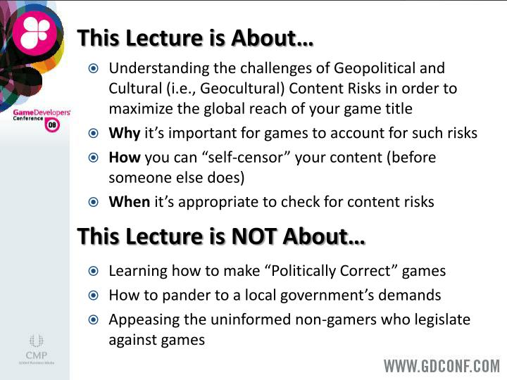 This Lecture is About…