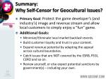 summary why self censor for geocultural issues