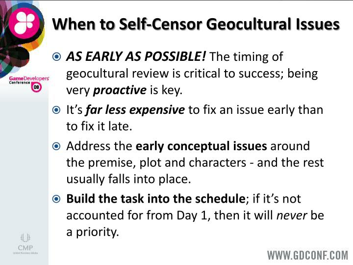 When to Self-Censor Geocultural Issues