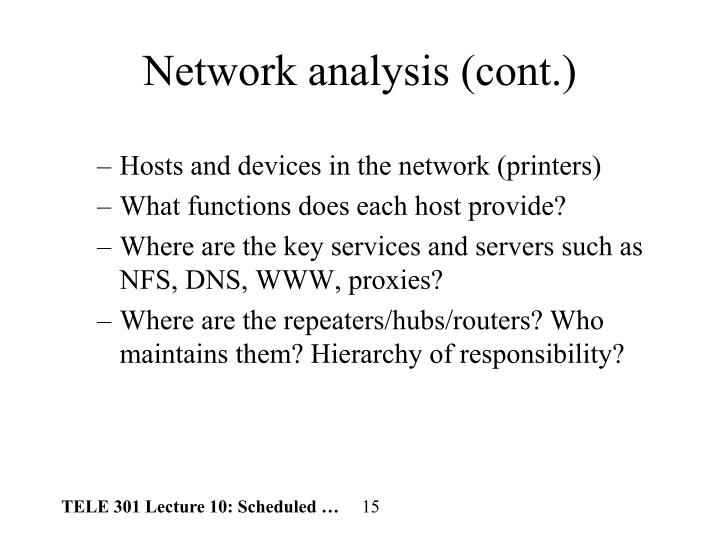 Network analysis (cont.)