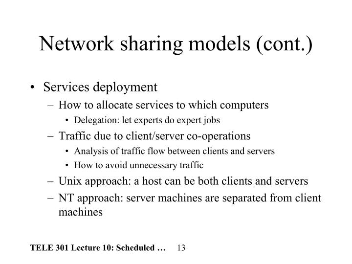 Network sharing models (cont.)