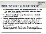 demo plan step 3 context description