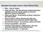 sample excerpts from a tech demo plan