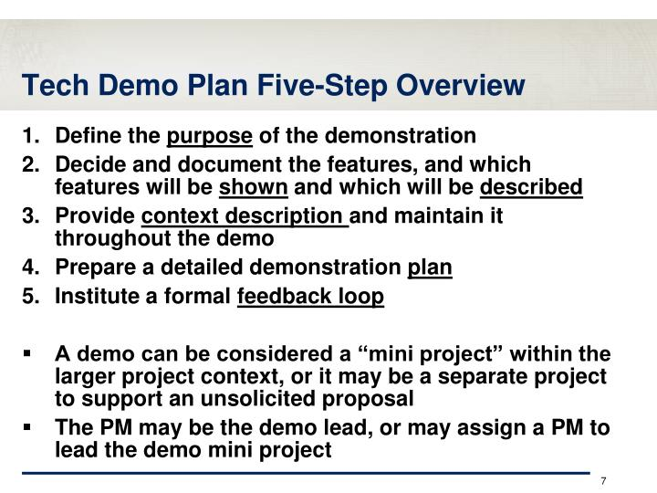 Tech Demo Plan Five-Step Overview