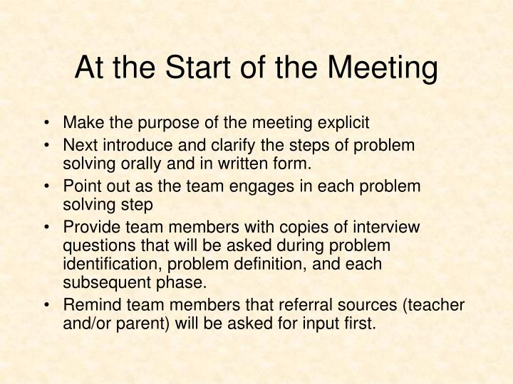 At the Start of the Meeting